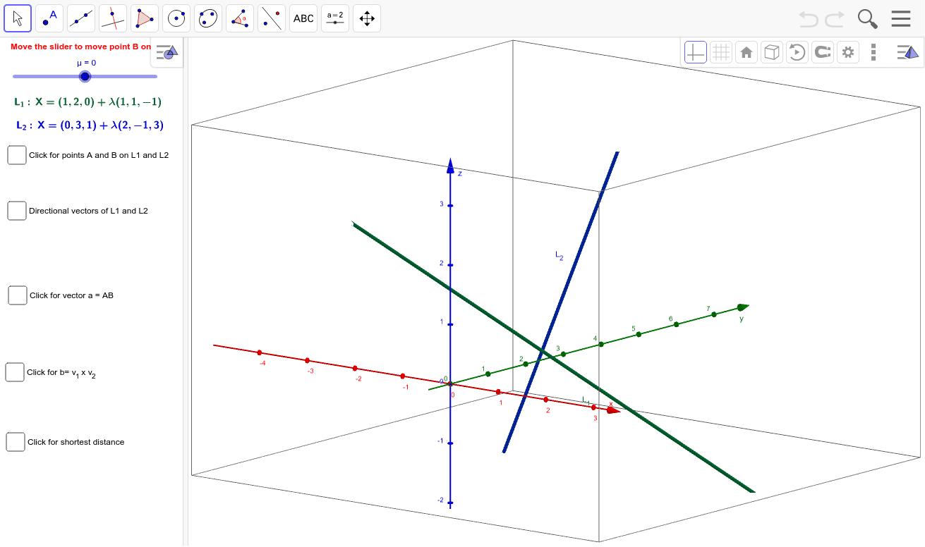 The shortest distance between skew lines – GeoGebra