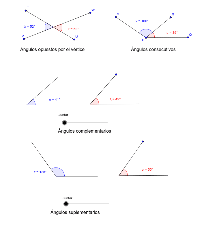 Junta los ángulos complementarios y suplementarios deslizando el punto negro. ¿Qué nombre reciben los ángulos suplementarios cuando se unen? Presiona Intro para comenzar la actividad