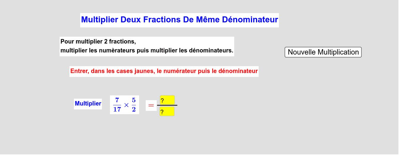 Soustraire Deux Fractions De Même Dénominateur Press Enter to start activity