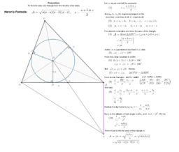 Heron's Formula, Geometric Proof