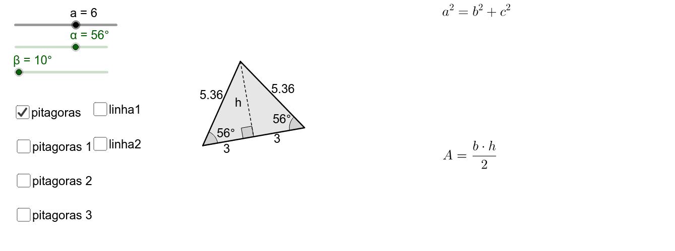 Calcule a área do triângulo isósceles. (use os controles para alterar a figura e marque as caixas para verificar a resolução)