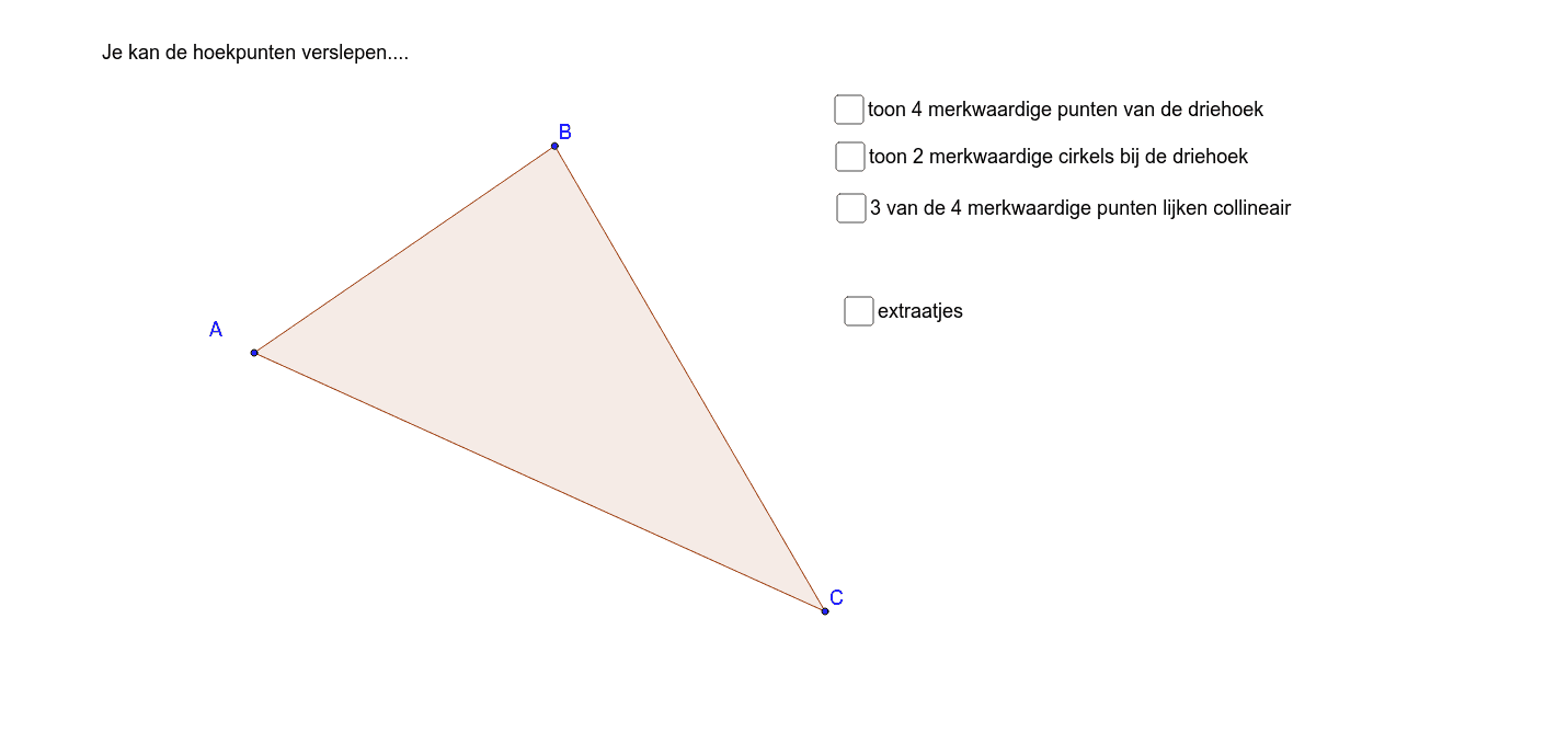 Bij een driehoek hoort veel meer dan drie hoekpunten en drie zijden... Klik op Enter om de activiteit te starten