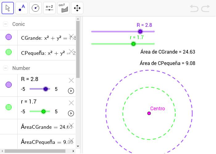 Obtener dos circunferencias concéntricas cuyo centro sea el punto (0,0) y cuyos radios sean variables. Press Enter to start activity