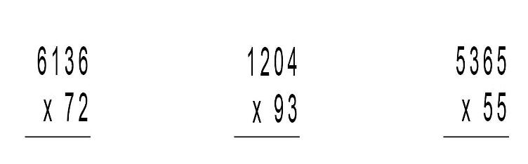 PREGUNTA 1.- Realitza les multiplicacions següents: