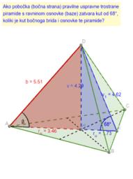 Pravilna trostrana piramida - prikloni kut bočnog brida