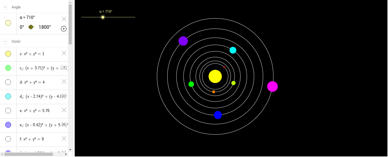 Click the button play to see the planet rotate in their orbit. Press Enter to start activity