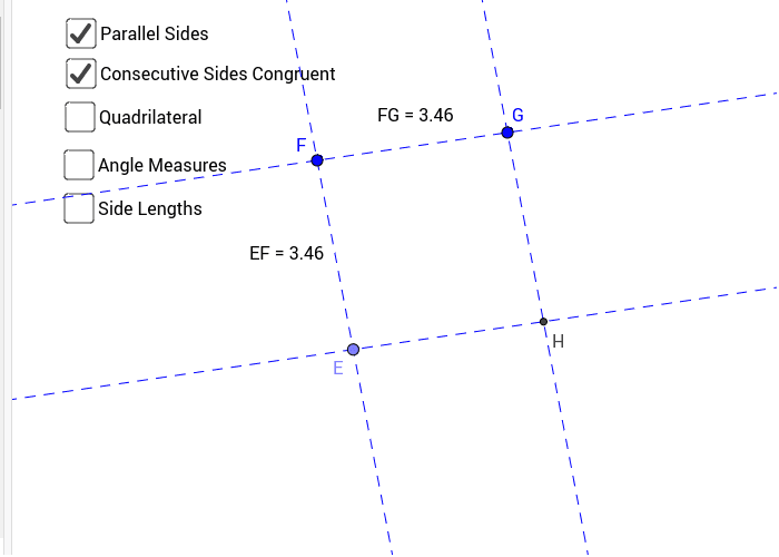 Figure #1: Parallelogram with Consecutive sides Congruent