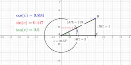 Cosinus, sinus og tangens i en retvinklet trekant