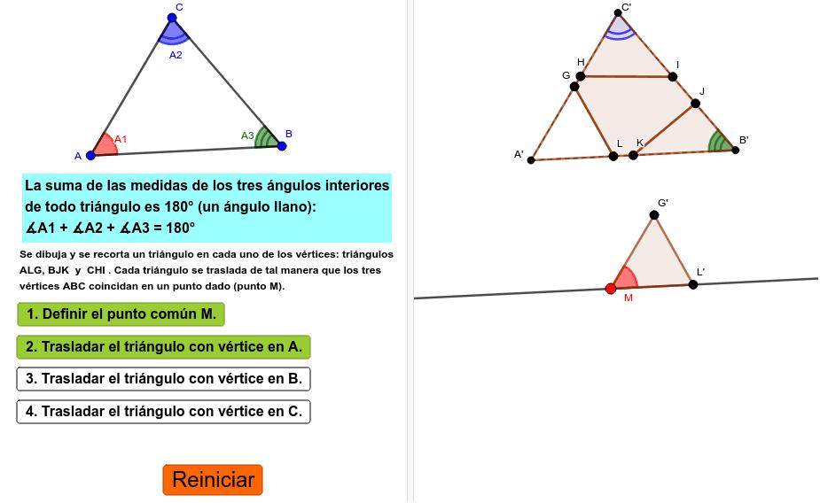 ángulos Internos Del Triángulo Demostración 2 Geogebra