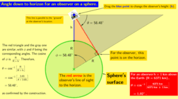 Angle down to horizon for observer on a sphere