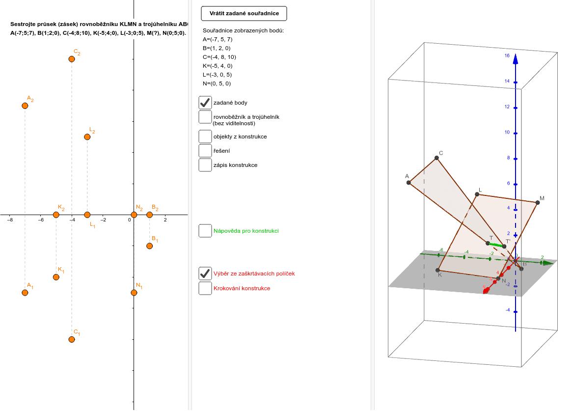 Vzájemná poloha trojúhelníku a rovnoběžníku v MP