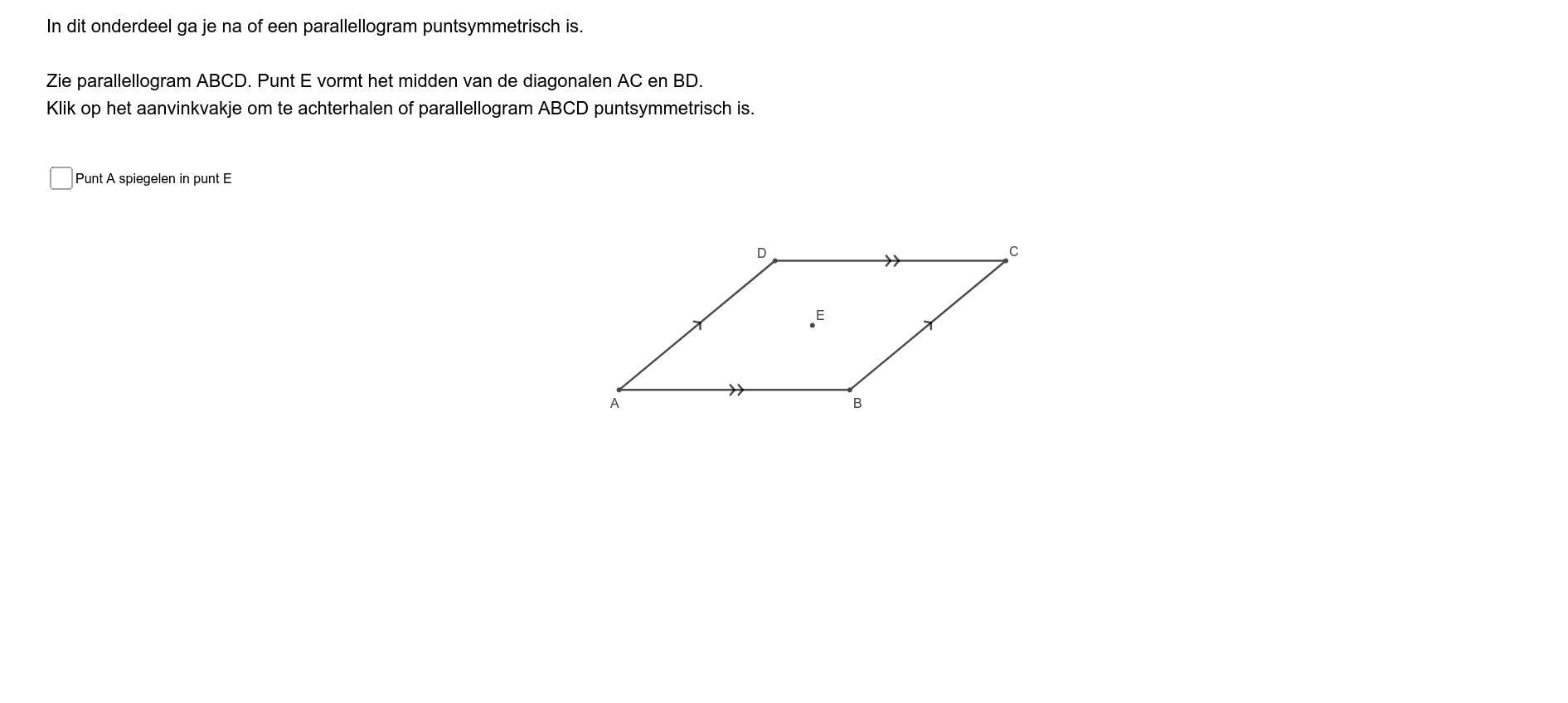 Is een parallellogram puntsymmetrisch? Klik op Enter om de activiteit te starten