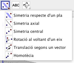 Per a les simetries i les transformacions, GeoGebra ens posa a l'abast  un conjunt d'eines tant per a la finestra 2D com per a la finestra 3D.  El seu ús és fàcil i intuïtiu com veurem.