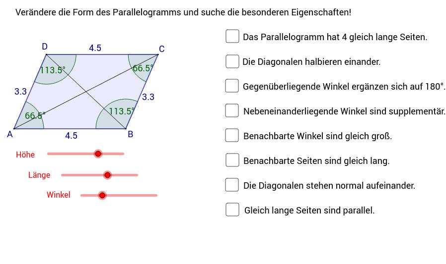 Parallelogramm - Eigenschaften