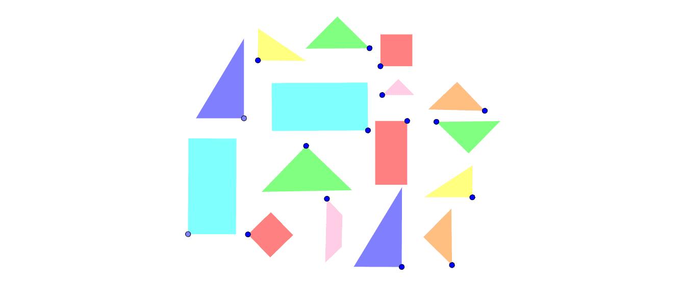 Avec les pièces à disposition, construis 7 formes géométriques (carré, rectangle ou triangle). Tu peux déplacer et tourner les pièces. Les pièces avec les mêmes couleurs vont ensemble.