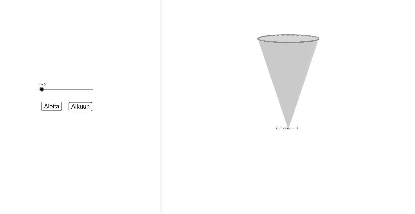 Ympyräpohjaisen kartion tilavuus (Volume of a cone) Press Enter to start activity