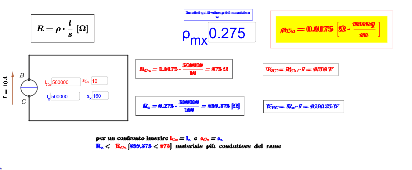per una verifica inserire lcu=lx poi impostare la sezione di sx fino ad ottenere lo stesso valore di Rcu - corretta formula ρ_u=Ω.mmq/m Premi Invio per avviare l'attività