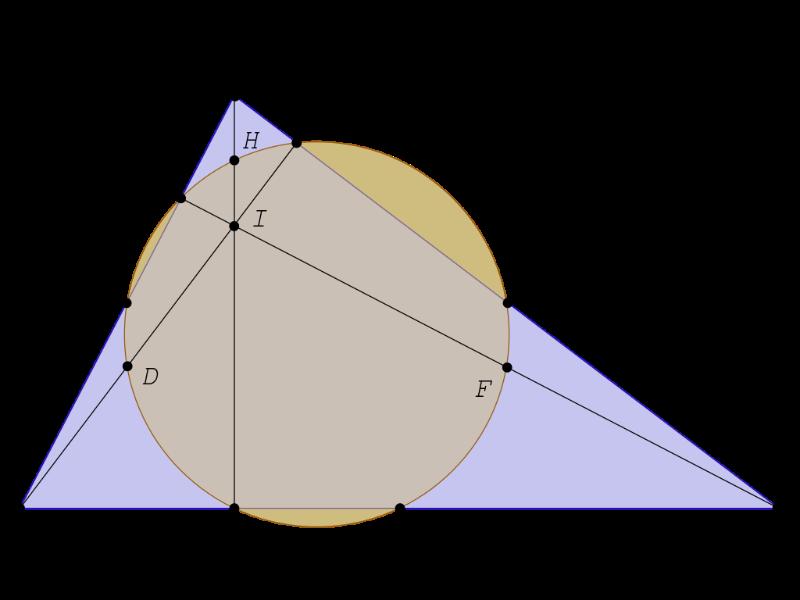 Imagen simplificada de la circunferencia de los 9 puntos.