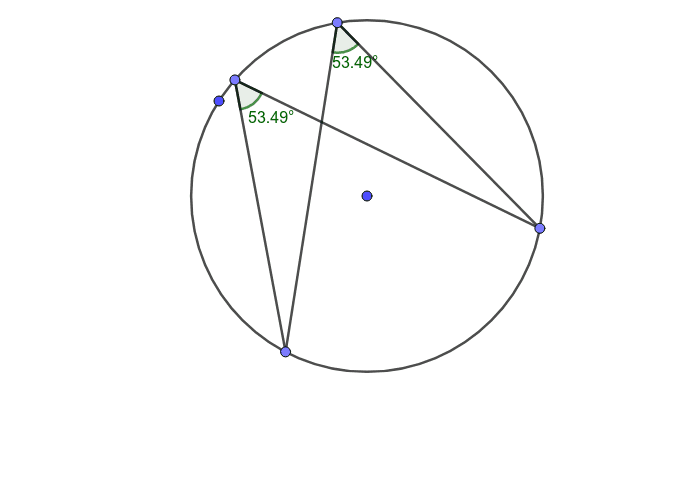 Dragging the points of these two segments can show that angles in the same segment are equal. But why? Press Enter to start activity