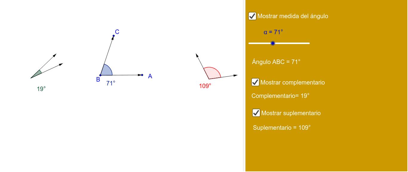 Repasamos la idea de ángulos complementarios y suplementarios.