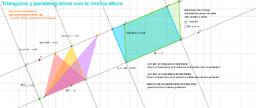 Triángulos y paralelogramos de igual base y altura