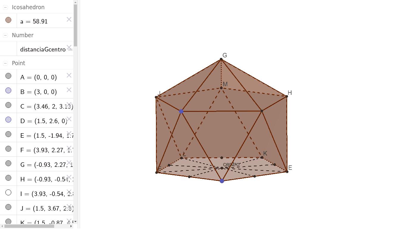 Este es un Domo geodésico con frecuencia 1 de un icosaedro. Desde este poliedro se puede llegar a un con frecuencia 2. Presiona Intro para comenzar la actividad