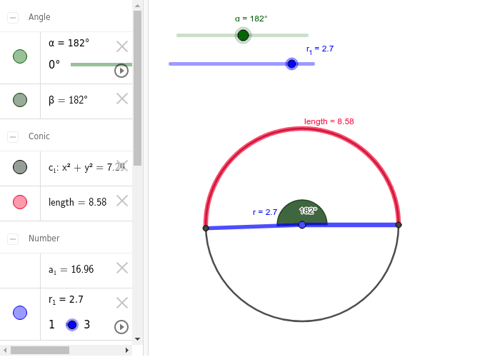 Can prove the formula of length of arc by using differences value of radius and angle.