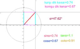 birim cemberde trigonometrik oranlar