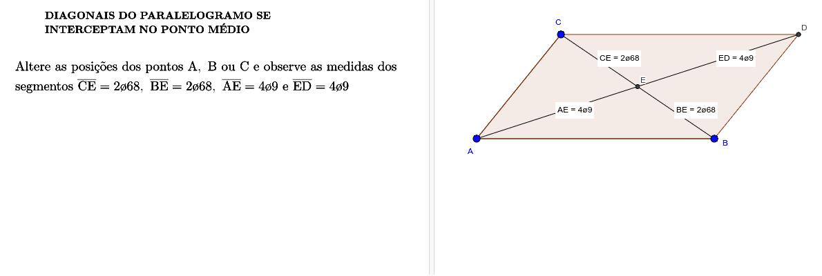 Diagonais do paralelogramo