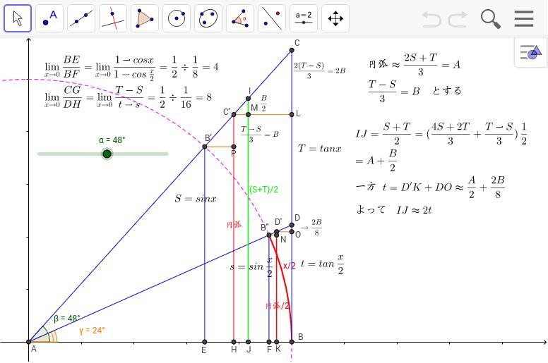 (S+T)/2→tan(x/2)になるわけ。