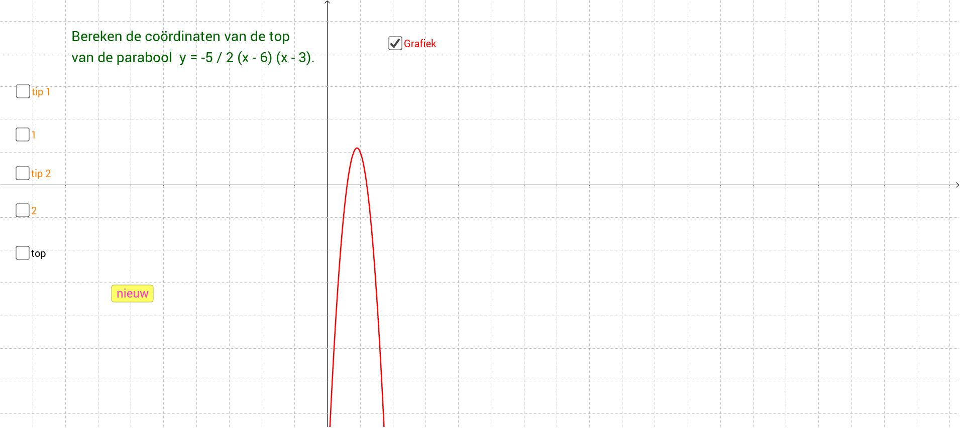 Bepalen van de top van een parabool m.b.v. a en b