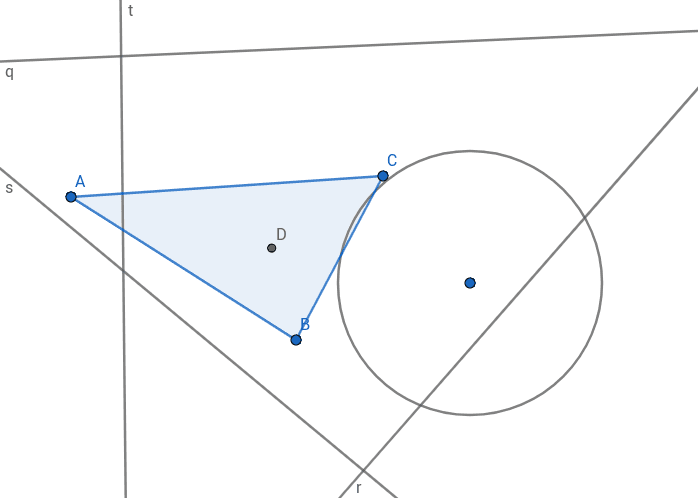 Verschiebe die Geraden s,t,r und q, sodass sie sich in D schneiden. Verschiebe den Kreis sodass der Mittelpunkt in D liegt und die Kreislinie durch C verläuft.