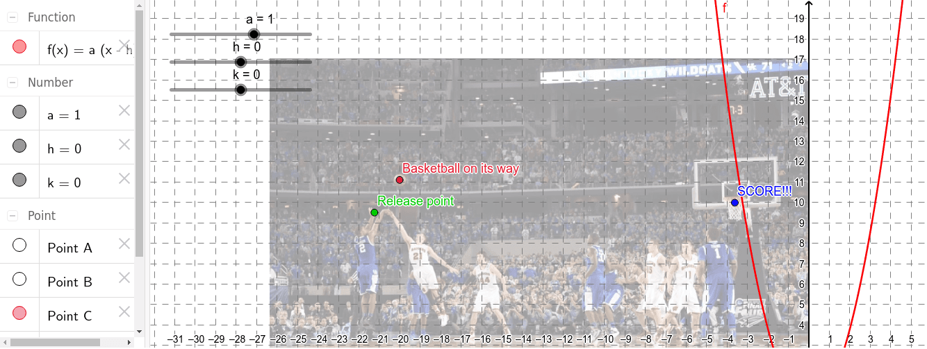 Drag the sliders to show the path for Harrison's 3-point shot. Press Enter to start activity