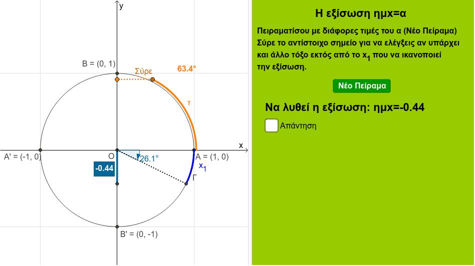 Στον τριγωνομετρικό κύκλο