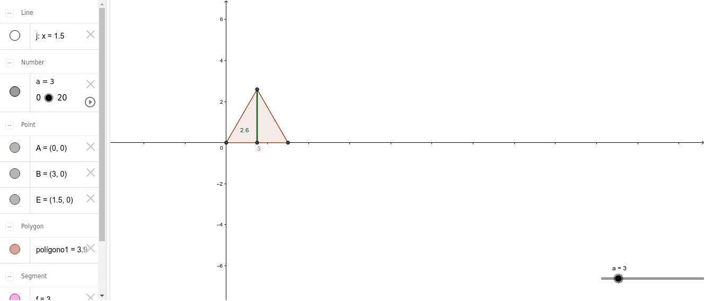 Calcula el área de un triángulo equilátero en función de la base