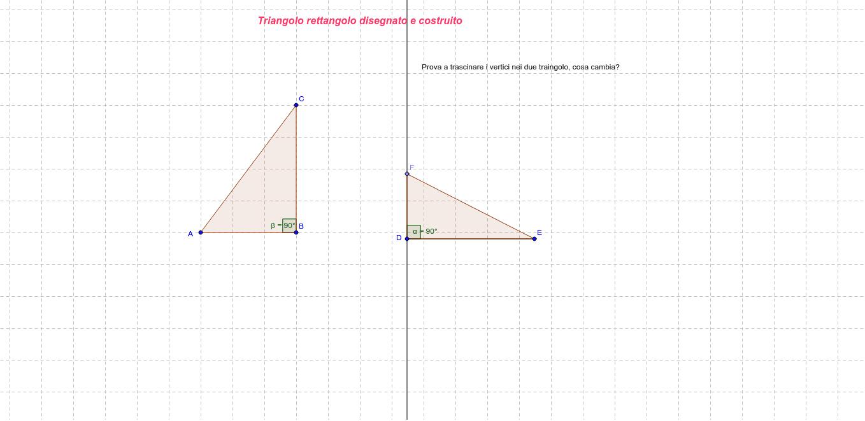 Triangolo rettangolo disegnato e costruito