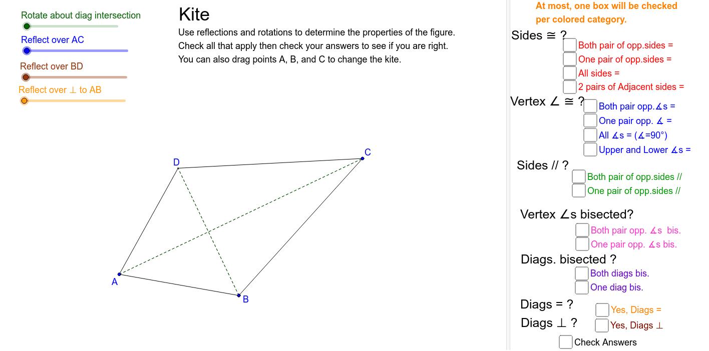 Examine symmetries to determine properties of a kite