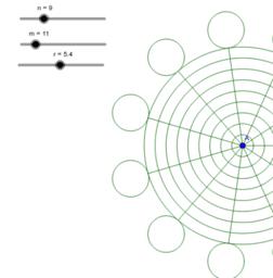 同心圓和線段-3(線段到最外圓有小圓)