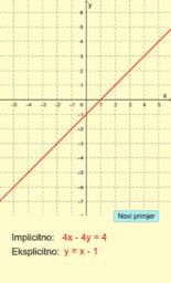 Implicitni i eksplicitni oblik jednadžbe pravca