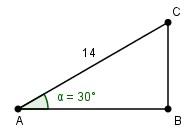 Date le informazioni riportate in figura, calcolare la lunghezza del lato CB - ricorda che [MATH]sin(30°) = \frac{1}{2}[/MATH].