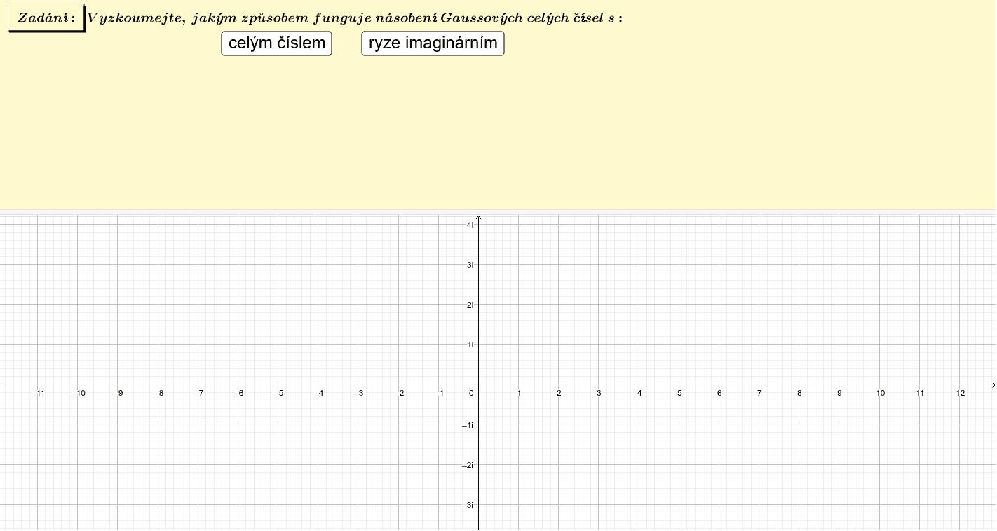 Vynásobení Gaussova celého čísla číslem celým (ryze imaginárním) Zahajte aktivitu stisknutím klávesy Enter