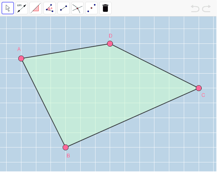Move the pink vertices of this quadrilateral around to form a RECTANGLE (that is NOT a square).  Try to do so in such a way any pair of opposite segments is neither horizontal nor vertical.