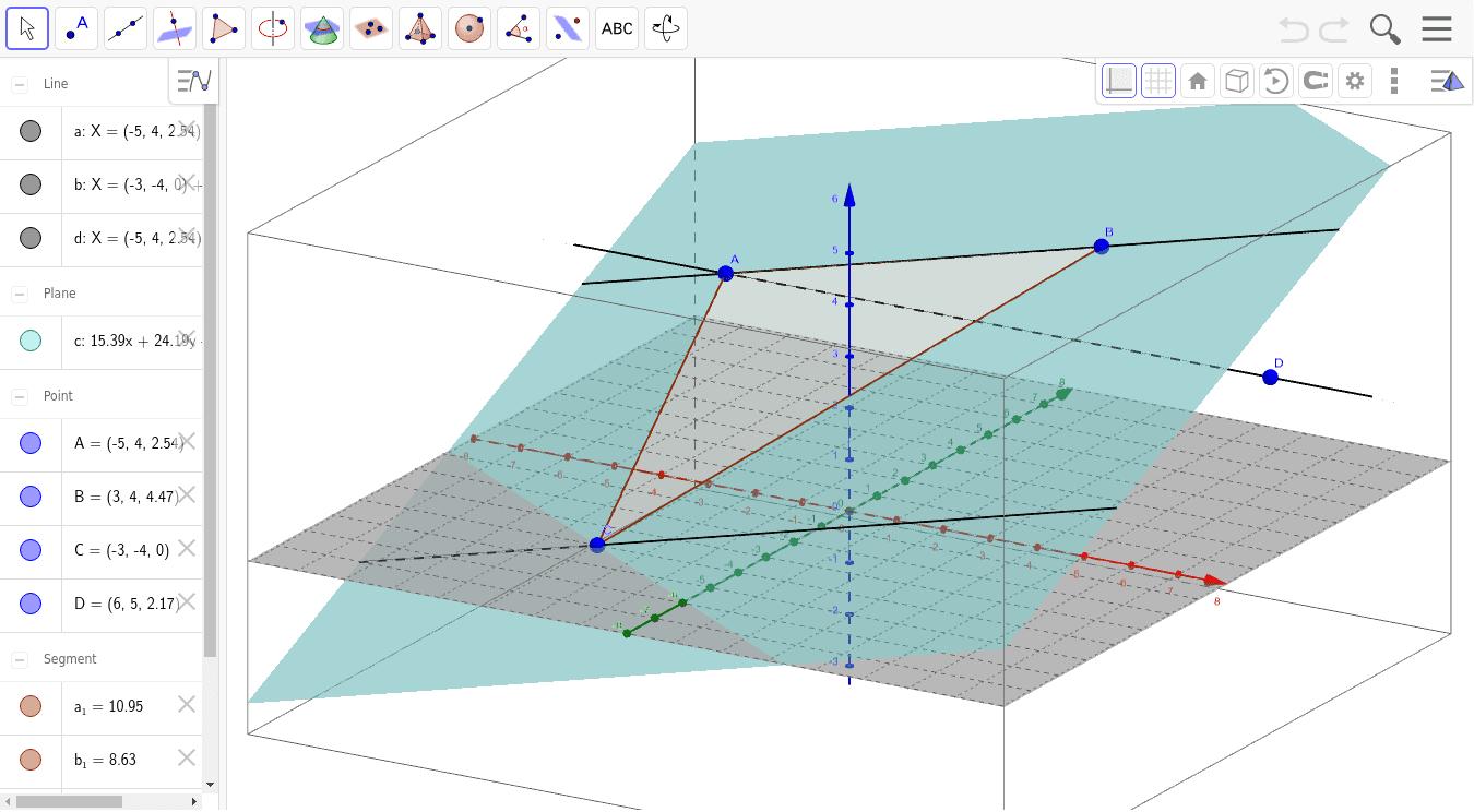 Ruimtemeetkunde : geogebra applet (3-D)