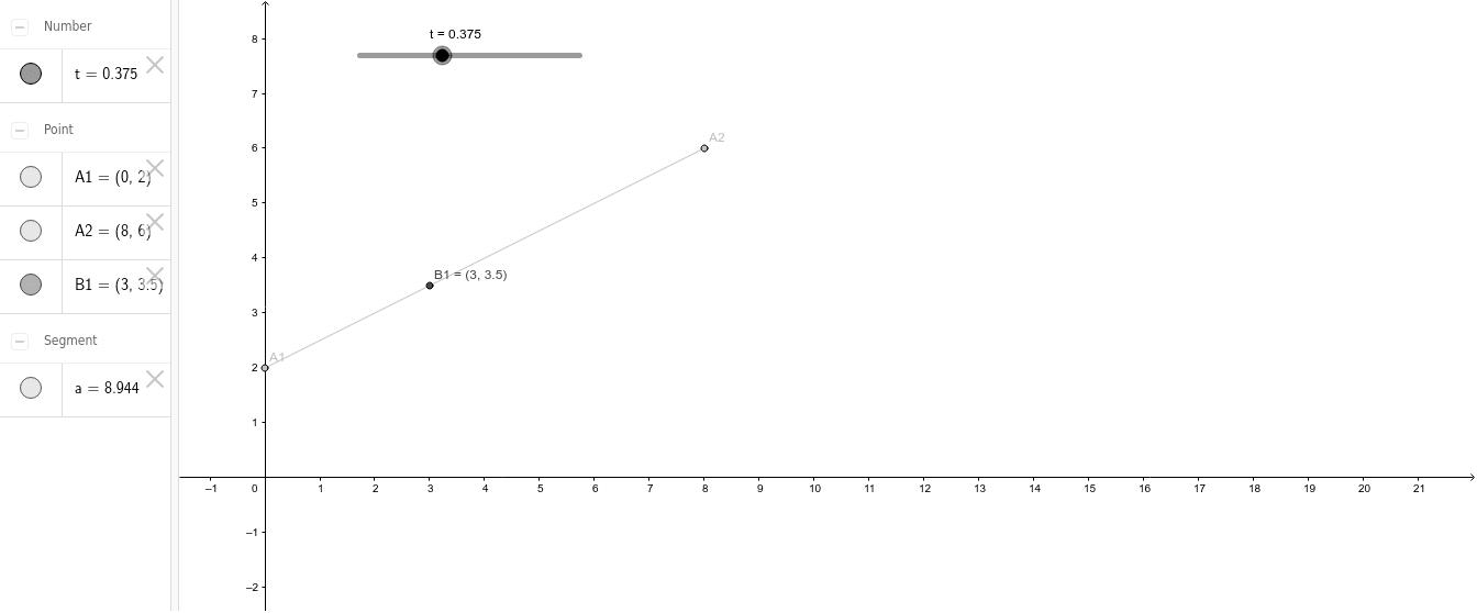 Parameterizing a line segment. Press Enter to start activity