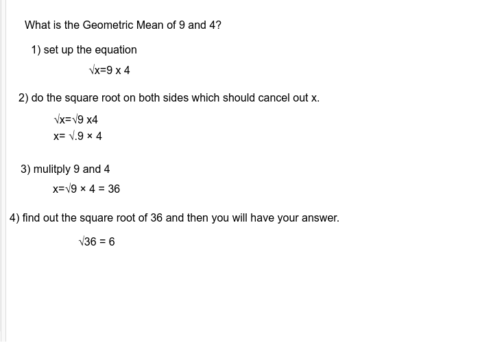 Geometric mean Press Enter to start activity