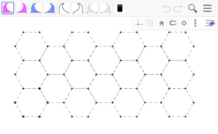 הקישו על ספיידרון בסרגל הכלים ולאחר מכן על שתי נקודות שכנות בכוורת. מלאו את כל הכוורת בספיידרונים.