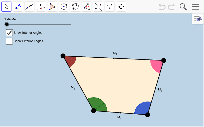 Interact with the applet below for a few minutes. Then, answer the questions that follow. Be sure to change the locations of the quadrilateral's BIG BLACK VERTICES each time before you drag the slider!!!  Press Enter to start activity