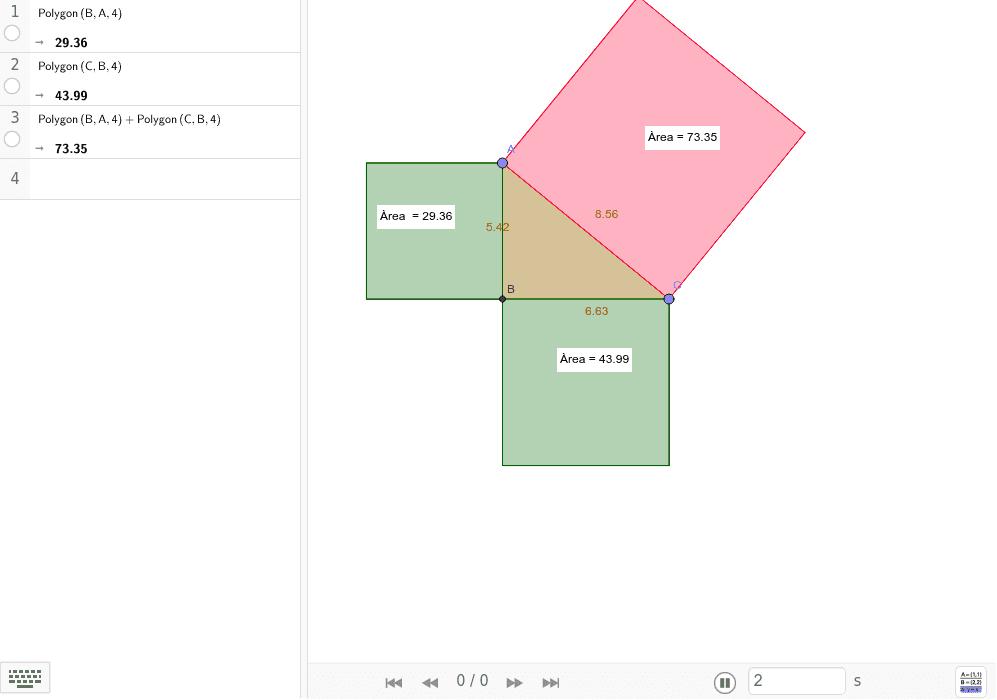 Mou els punts A i C i comprova que compleix el teorema de Pitàgores