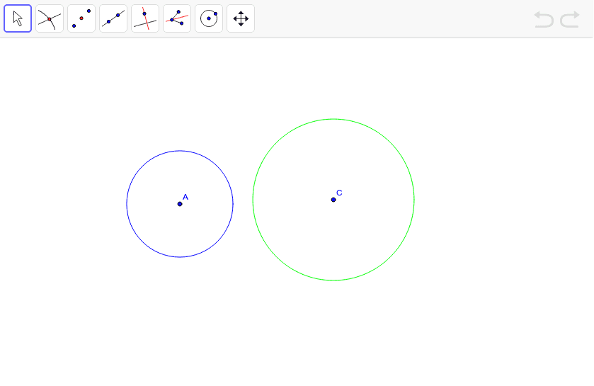 Construct the external tangents to circle A and C.