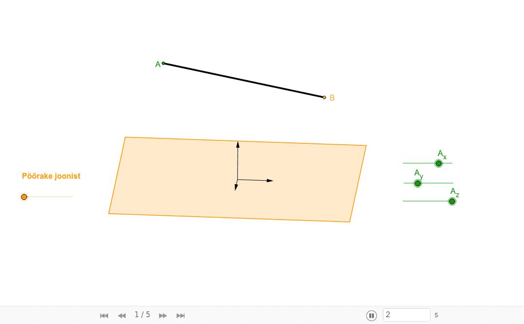 Lõigu projektsioon tasandil Press Enter to start activity